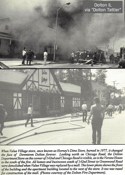 HORNEY'S VALUE VILLAGE FIRE - 1977 - DOLTON IL<br /> Began in the basement of the old section where paint was stored. The old wooden floor above stifled attempts to reach the blaze's source. A new Value Village was built behind and to the south and operated until about 1990.