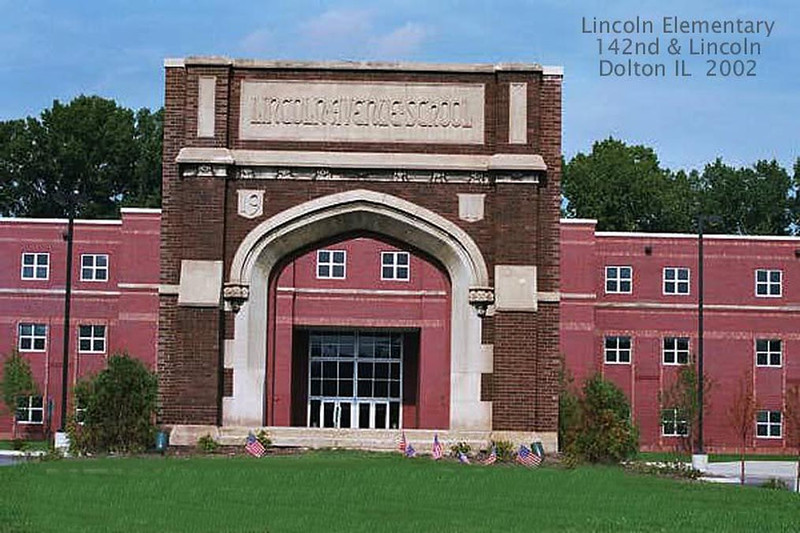 LINCOLN ELEMENTARY - DOLTON, IL 2002<br /> The entrance from the original school now fronts the new structure.
