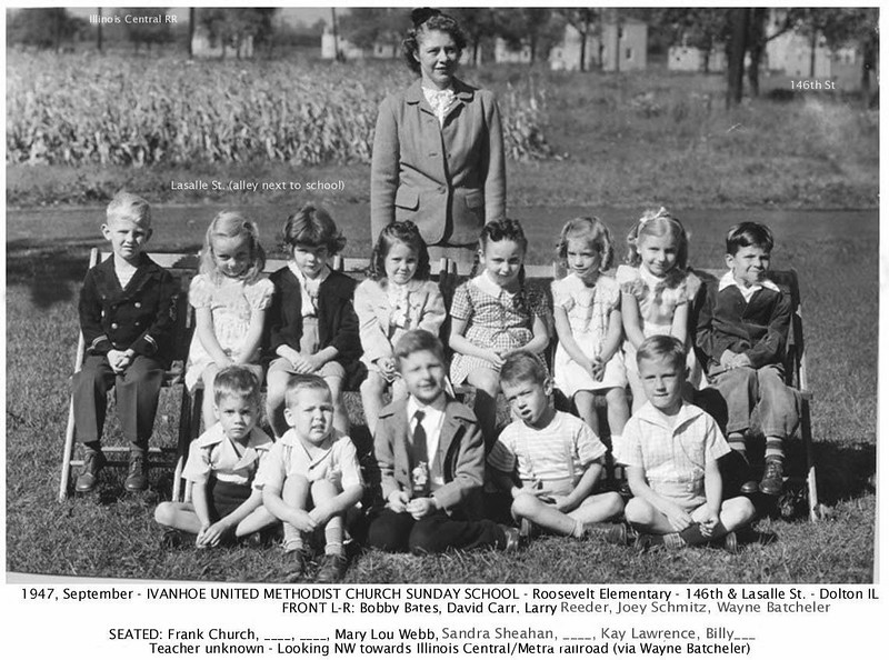 IVANHOE UNITED METHODIST CHURCH -Sunday School - 1947<br /> Part of the Verhoeven farm is seen in the back