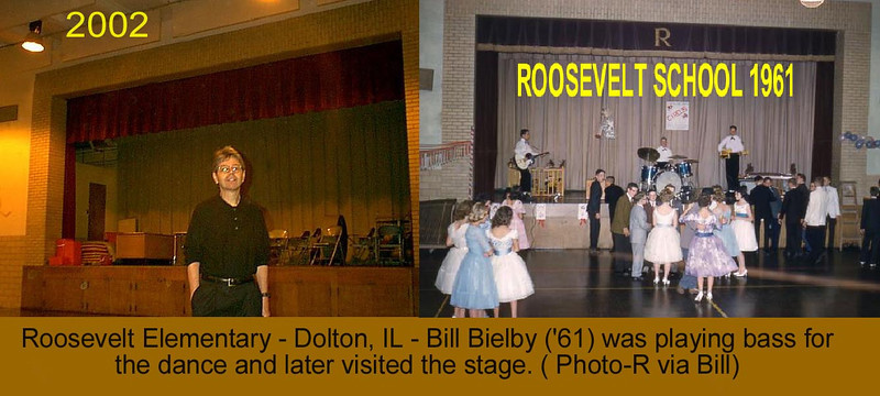 ROOSEVELT ELEMENTARY STAGE - COMBO<br /> Other than a new curtain and missing speakers, the stage and gymnasium were about the same over time.