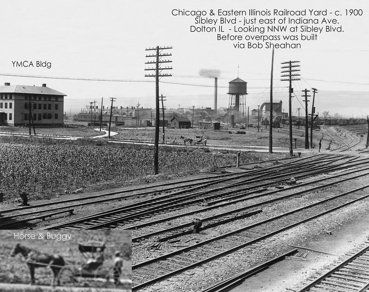 CHICAGO & EASTERN ILLINOIS RAILROAD YARD - c.1900<br /> Dolton, IL - Before the overpass was built.