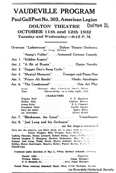 "VAUDEVILLE PROGRAM - Dolton, IL - 1932<br /> Prominent Dolton & Riverdale residents participated--vaudeville was dying out at this time and replaced by ""talking movies and radio."""