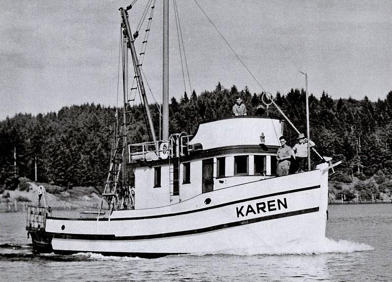 Karen  Built 1945  Coos Bay Boat  Shop  Builder Abe Elfving  Jonke Elfving  Later Vernon  Graham  Graham Brothers   Later   Buzz   William  Goergen