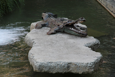 ironworks alligator at the American Tobacco Warehouse District
