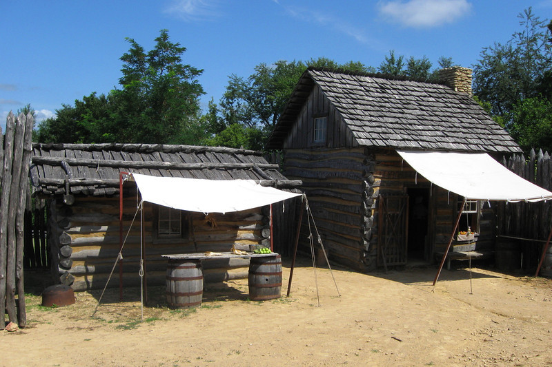 The western half of the fort (yes, it's small!) houses a utility boulding and a small two-story cabin...