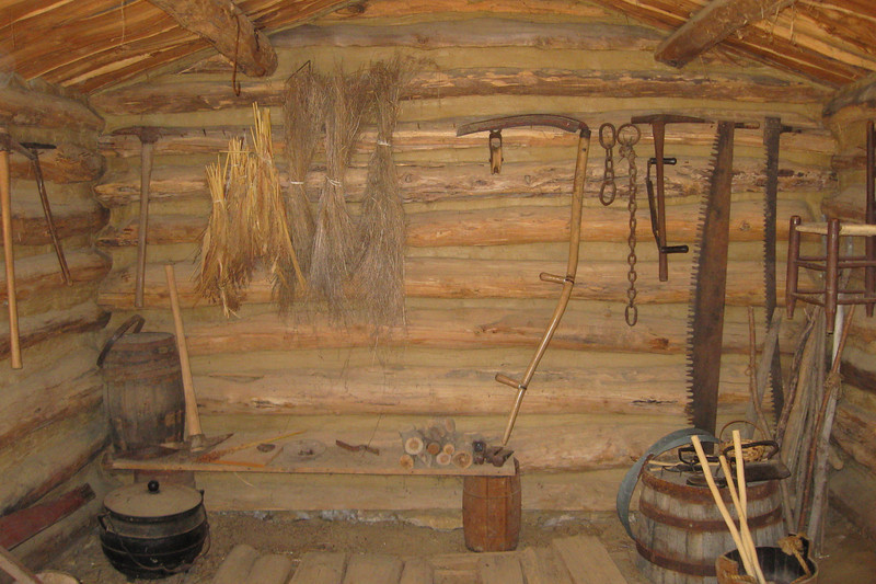 Alook at the interior of the smaller cabin...there were a number of familiar period tools here that I'd used at my home park in Mackinac...