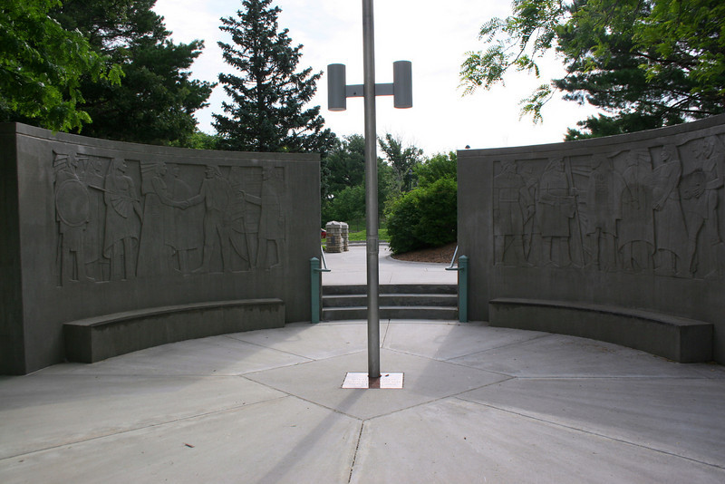 The monument depicting the meeting of Lewis and Clark withe the Oto Indians on their way west...