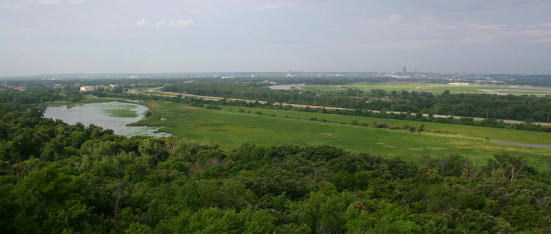 The panorama from the Lewis and Clark Monument.  Omaha, Nebraska can be seen in the distance through the haze...