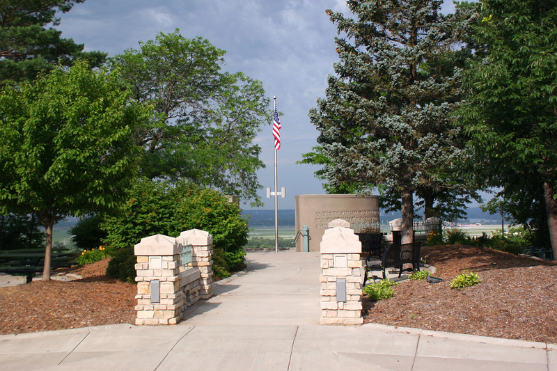 The small memorial sits in a pleasant little park with a commanding view of the Missouri River...