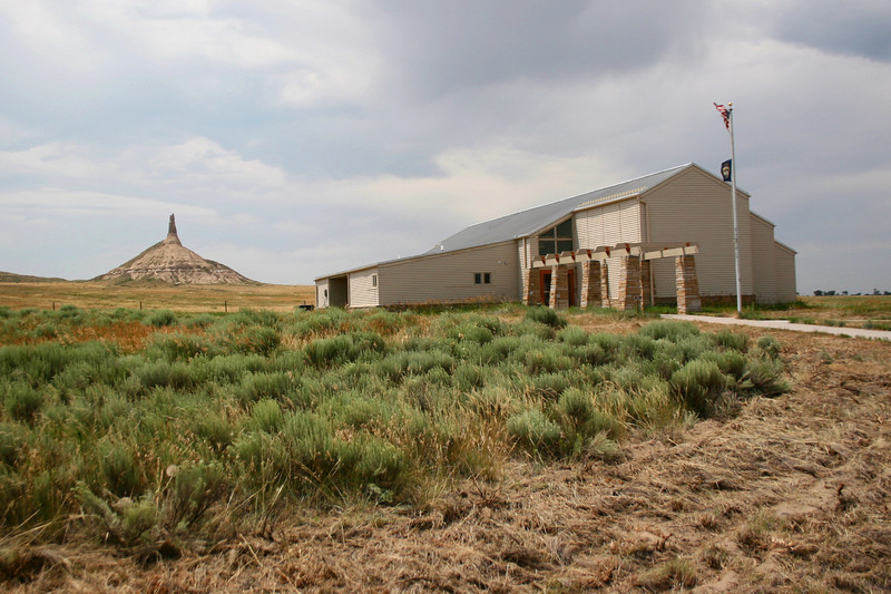 The visitors center with Chimney Rock in the background...
