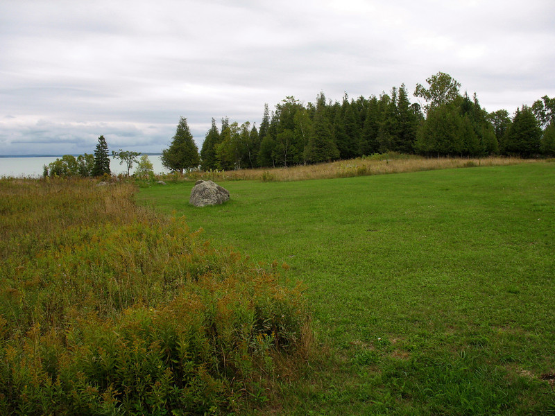 The grass was mowed to show the former outline of the fort...