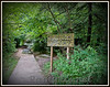 Signage along the ledges trails in the Fitzgerald Park, Grand Ledge Michigan.