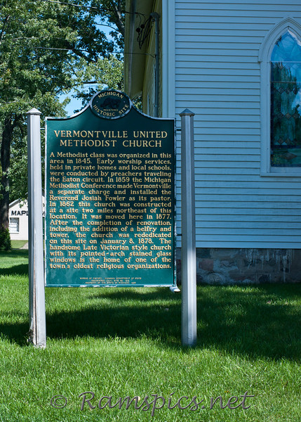 Vermontvile United Methodist Church historic marker, Summer 2011.