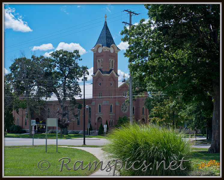 Congregation Church in downtown Charlotte. Vantage point: grounds of the courthouse square in Charlotte MI, Summer 2011.