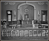 "Black and white processed image of the courtroom... My research indicates that ""only"" black and white ""film"" (scanned to digital) is acceptable as true ""historic photographic"" documentation.<br /> Photograph: Circuit Courtroom in the historic 1885 Eaton County Michigan courthouse, Charlotte Michigan."