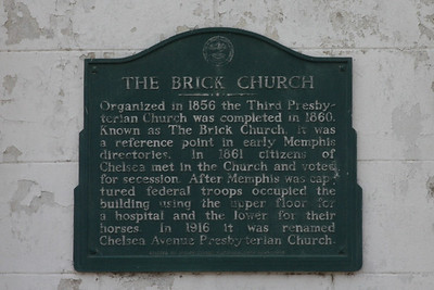 The Brick Church, located north of downtown Memphis.   Organized in 1856 the Third Presbyterian Church was completed in 1860.  Known as The Brick Church, it was a reference poiint in early Memphis directories.   In 1861 citizens of Chelsea met in the Church and voted for secession.   After Memphis was captured federal troops occupied the building using the upper floor for a hospital and the lower for their horses.  In 1916 it was renames Chelsa Avenue Presbyterian Church.