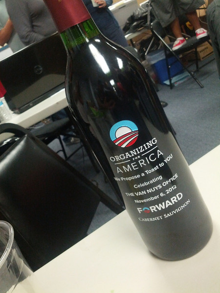 These special Organizing for America bottles of wine were given out to a dozen volunteers who have given weeks and hours and hours of their time volunteering to get the President re-elected.