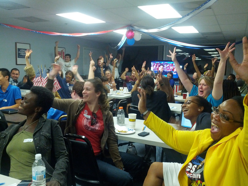 Here all the volunteers are responding to the projection that the President will win the state of PA!