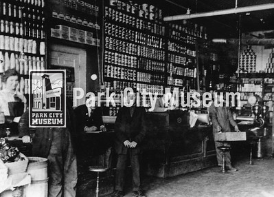 Welsh, Driscoll, and Buck Store on Main Street.  L-R, Dena Thompson, Pat McDonough, Redmond McDonough, George Mitchell, and Joe McLaughlin. The store's first advertisement appeared in the Park Record on April 4, 1986. circa early 1900's. (Image: digi.2.2160, Himes-Buck Collection)