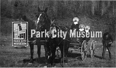 "Three nuns in a horse-drawn wagon with their driver in the mountains near Park City. Caption reads, ""A Long Trip Up the Mts."" circa 1920's. (Image: 2003-23-12, PCHS Photograph Collection)"