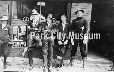 John Malvey, Bud Wright, Phil Tobin, Bill Malney, and Joe Quinn in front of the Rocky Mountain Bell Telephone Company office on Main Street, ca.1910 (Image: digi-5-1, Emmett Wright Digital Collection)