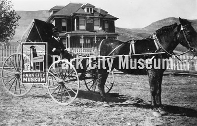 Dr. C.M. Wilson in front of the Miner's Hospital, ca.1905-1915 (Image: digi-2-6042, Himes-Buck Digital Collection)