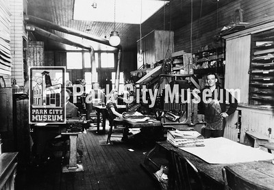 Park Record Newspaper Office.  Sam Raddon, editor, on left. Lynx Langford, center, using Linotype keyboard. Circa 1925. (Image: 1986.26.1,Lynx Langford Collection)