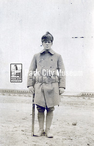 Sepia photographic print of Lawrence Luther Martin during World War I in Vladivostok, Siberia, May 7, 1919. The photo was found in a letter Martin sent home to his wife, Edith. Martin was born in Park City, Utah in 1889. He lived on 355 Rosse Hill with his wife, Edith Nancarrow Martin, and their two daughters. Martin registered for the WWI draft on June 15, 1917 and was stationed at Camp Fremont in Palo Alto, California and Vladivostok, Siberia. He served until July 1919. When Martin returned from the war he was a miner. He died in 1979. (Image: 2016-6-146, Mary Martin Vincent Collection)