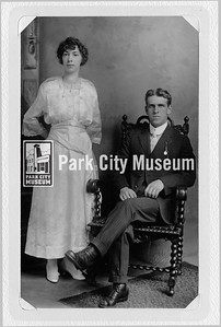Lawrence Luther Martin and Edith Nancarrow on their wedding day, June 20, 1917. They were married at her parents' home at 323 Rossie Hill in Park City, Utah. They lived at 355 Rossie Hill and had two daughters. (Image: 2016-6-160, Mary Martin Vincent Collection)