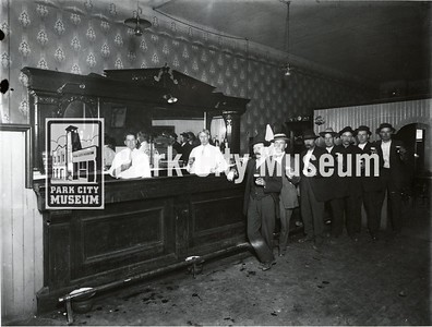 One of 27 operating saloons in Park City before 1917.  Many owned by Irishmen such as Donovan, Kelly, Hallinan and Fitzpatrick who initially came to Utah to work on the railroads.  Women were not allowed in bars.  (Image: 2005.27.21,  Carrie Vivian Hodgson Collection)