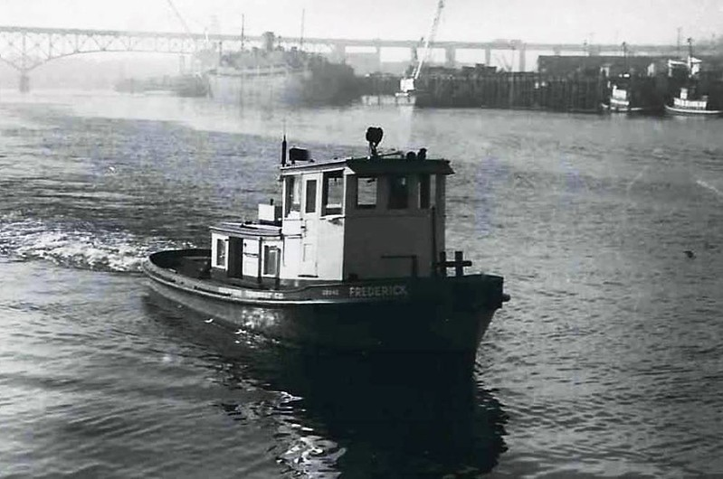 Frederick  Later Whidbey  Built 1950 Portland  Knappton Towboat Later Dunlap Towing Pic Taken 1957