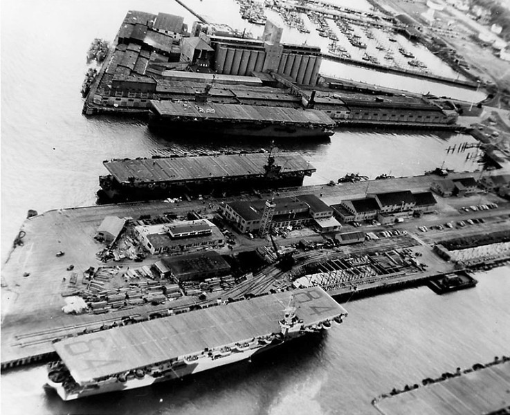 6 April 1944  Astoria Port Docks  3 Carriers USS Shamrock Bay  Bottom  Ready For Sea  Built Portland Outfitted Astoria  WW II  Escort Carriers Carried 25 Planes