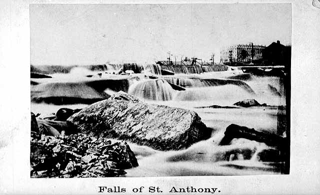 """Photograph by Rodolph Ransom , circa 1860.<br /> Saint Anthony Falls   ---   black and white photograph<br /> Above image and information credit webpages (accessed 12-dec-2013) :: <br /> <a href=""""http://collections.mnhs.org/cms/display.php?irn=10747139&websites=no&brand=cms&q=st.%20anthony%20falls&startindex=1&count=25"""">http://collections.mnhs.org/cms/display.php?irn=10747139&websites=no&brand=cms&q=st.%20anthony%20falls&startindex=1&count=25</a>      - - - - -      <br /> <a href=""""http://collections.mnhs.org/cms/largerimage.php?irn=10120569&catirn=10747139"""">http://collections.mnhs.org/cms/largerimage.php?irn=10120569&catirn=10747139</a>"""
