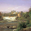 """St. Anthony Falls, 1857""-  oil on canvas 21x31""- Ferdinand Reichardt, 1819-1895<br /> Above image credit webpage (accessed 13-dec-2013) :: <br /> <a href=""http://americangallery.wordpress.com/2009/11/20/ferdinand-reichardt-1819-1895"">http://americangallery.wordpress.com/2009/11/20/ferdinand-reichardt-1819-1895</a> <br /> --------  Below text credit webpage (accessed 21-mar-2014) :: <br /> <a href=""http://shop.mnhs.org/pages.cfm?ID=111"">http://shop.mnhs.org/pages.cfm?ID=111</a> <br /> """" St. Anthony Falls shows the east channel of the Mississippi River in 1857 and the booming little town of St. Anthony, Minnesota, built close to the falls, as well as the picturesque wildness of the river scenery below the town. On the left is Hennepin Island with its flour mills and the sluice that carried lumber from sawmills below the rapids for rafting to the lower river. The Winslow House, a well-known early hotel, dominates the hill in the background, and in the right foreground stands a wood-products factory. The artist depicted the town at the high spot in its development, for St. Anthony never recovered from the financial panic that hit only a few months after the picture was painted. In 1872 St. Anthony was combined with Minneapolis, its prosperous rival across the river. Thereafter, the water power of the world-famous Falls of St. Anthony contributed to the development of Minneapolis and its two great early industries of sawmilling and flour milling.  ----------   Ferdinand Reichardt (1819-1895) was a Danish-born landscape artist who was especially noted for his paintings of Niagara Falls. The romance of the Mississippi, however, seems to have captured his imagination, presumably when he traveled through Minnesota in the 1850s. In his New York City studio Reichardt created several evocative scenes of life along the river, such as St. Anthony Falls and View on the Mississippi River (also known as Steamboats on the Mississippi), both painted in 1857 and in the MHS Collections. A rendition of fashionable sightseeing by steamboat on the river, executed in 1858, is in the collections of the White House. All are probably based on sketches and material gathered during Reichardt's visit to the Mississippi Valley, and all are rich in fine detail."""""