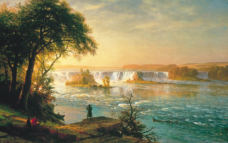 """""The Falls of St. Anthony"""" : by Albert Bierstadt , circa 1880-1887. <br /> Albert Bierstadt (1830–1902).<br /> Medium: oil on canvas  ---  Dimensions: 38.1 × 60.5 in <br /> Current location of painting: Thyssen-Bornemisza Museum, Madrid, Spain.<br /> Above information and image credit webpages (accessed 12-dec-2013): <br /> <a href=""http://commons.wikimedia.org/wiki/File"">http://commons.wikimedia.org/wiki/File</a>:Bierstadt_Albert_The_Falls_of_St._Anthony.jpg <br /> <a href=""http://commons.wikimedia.org/wiki/Bierstadt"">http://commons.wikimedia.org/wiki/Bierstadt</a> <br /> <a href=""http://upload.wikimedia.org/wikipedia/commons/a/ad/Bierstadt_Albert_The_Falls_of_St._Anthony.jpg"">http://upload.wikimedia.org/wikipedia/commons/a/ad/Bierstadt_Albert_The_Falls_of_St._Anthony.jpg</a> <br /> -----------------------------------<br /> -----------------------------------<br /> Following text credit webpage (accessed 14-dec-2013) ::  <br /> <a href=""http://en.wikipedia.org/wiki/St._Anthony_Falls"">http://en.wikipedia.org/wiki/St._Anthony_Falls</a> :: <br /> """"Before European exploration, the falls held cultural and political significance for native tribes who frequented the area. The falls was an important and sacred site to the Mdewakanton Dakota and they called the Mississippi River, hahawakpa, ""river of the falls."" The falls (haha) themselves were given specific names, mnirara ""curling waters,"" owahmenah ""falling waters,"" or owamni, ""whirlpool"" (mniyomni in the Eastern Dakota dialect and owamniyomni in the Teton Dakota (Lakota) dialect. Dakota associated the falls with legends and spirits, including Oanktehi, god of waters and evil, who lived beneath the falling water. The sacred falls also enters into their oral tradition by a story of a warrior's first wife who killed herself and their two children in anguish and forlorn love for the husband who had assumed a second wife. The rocky islet where the woman had pointed her canoe towards doom thus was named Spirit Island which was once a nesting ground for eagles that fed on fish below the falls. Dakota also camped on Nicollet Island upstream of the falls to fish and to tap the sugar maple trees."""""