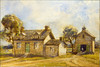 "Lardner Bostwick House<br /> South side of King Street, near present day Victoria Street<br /> Watercolour by Frederick V. Poole, circa 1912<br /> 134 x 228 mm<br /> after a pen and ink drawing, circa 1888?, reproduced in Evening Telegram series 'Landmarks of Toronto' 19 January 1889, and in 'Landmarks of Toronto' Vol. 1, Pg. 296, which is after ""an old picture"" made in 1829.<br /> Former printer JRR [John Ross Robertson] caption referred to ""Now (1912)"".<br /> Shows Bostwick's wagon shop at right.<br /> Acc: JRR 927 Cab<br /> Reproduced 13 Aug 2012, Baldwin Room, Toronto Reference Library, Toronto, York, Ontario, Canada"