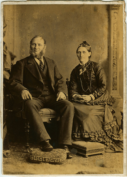 "Thomas Elgie (1818 - 1880) and Elizabeth Beckwith (1829 - 1890) circa 1875. Albumen print on Cabinet Card stock.  Josiah Bruce Studio, 118 King St. W., Toronto. Notation on reverse ""Elizabeth Beckwith married Thomas Elgie"""