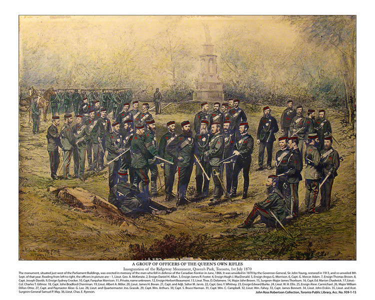 Inauguration of the Ridgeway Monument, Queen's Park, Toronto, 1st July 1870<br /> Composite Print, Notman and Fraser 1870<br /> John Ross Robertson Collection, Toronto Public Library, Acc. No. 939-1-15