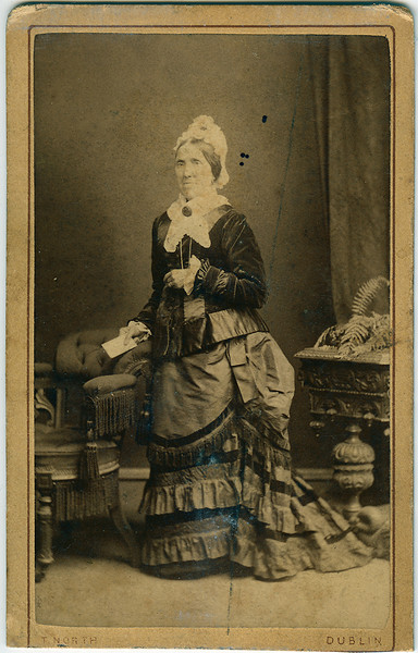 """Granny Kennedy""<br /> 21/2"" x 4"" (trimmed) Albumen print on ""Carte de Visit"" stock<br /> Thomas North, 71 Grafton Street, Dublin"