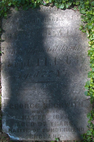 SACRED<br /> to the memory of<br /> HARRIET BECKWITH<br /> who departed this life<br /> Sept. 11, 1863<br /> Aged 77 Yrs.<br /> Lord remember me when thou comest<br /> into thy kingdom Luke 23 V42<br /> also<br /> GEORGE BECKWITH<br /> who died<br /> May 28, 1871,<br /> aged 97 years<br /> native of Cumberland<br /> England
