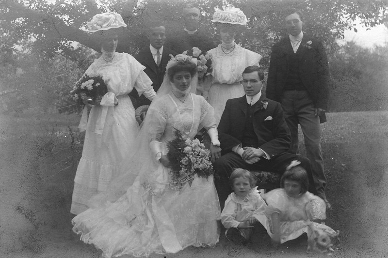 Marriage Party<br /> Percival Hector Gordon (1884-1890) & Harriette Sarah Kennedy (1880-1959)<br /> 7 Oct 1908, Dixie, Peel, Ontario, Canada<br /> Upper Right John Robert Kennedy (1883-1931) next to left Mabel Jessie Gordon (1883-1945)<br /> Silver Gelatin print greatly in need of love