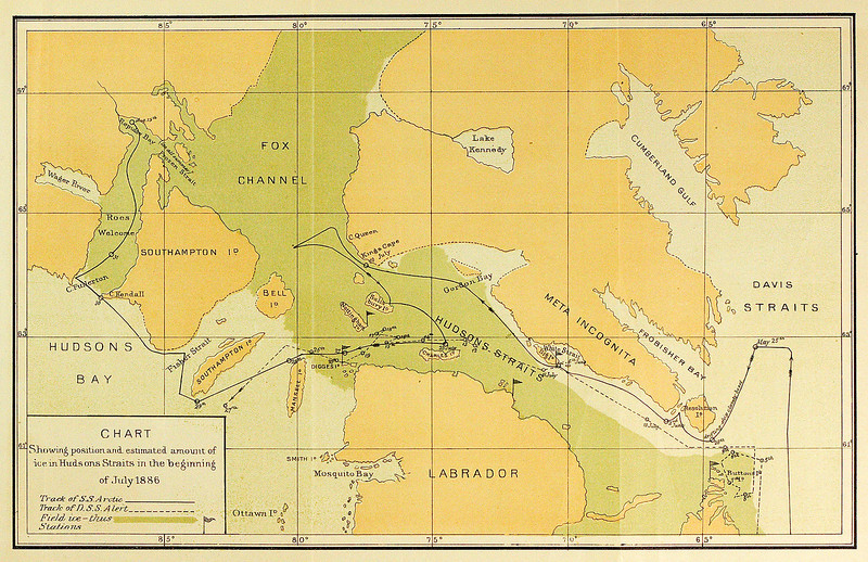 Chart of Ice in Hudsons Straits, Hudson's Bay Expedition 1886, Lieut. A. R. Gordon