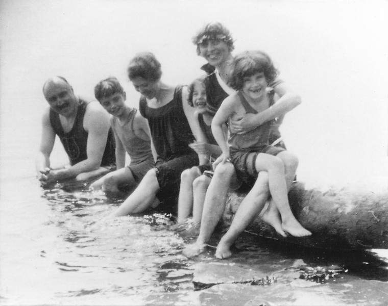 "Jim, Ted, Lucy (or Beatrice Embree), Lucy, Hannah and Marion<br /> Summer 1919 at ""Donalka"" Cottage on Blueberry point (Lake Deschene or Britannia Bay) in Alymer, Quebec - Photo coutesy Mary Butler Bush"