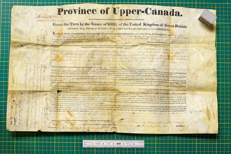 Upper Canada Land Patent 1817<br /> D'Arcy Boulton Senior granting land at the bottom of Frederick Street in Toronto to a consortium of people (including D'Arcy Boulton Junior - gotta love that Family Compact) to build the first commercial wharf in Toronto. Donated to the Archives of Ontario