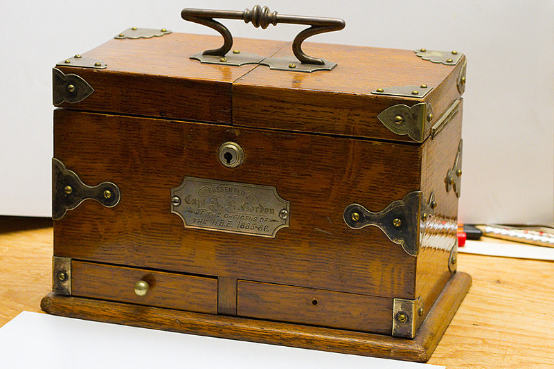 Tobacco Box given to Lt. Andrew Robertson Gordon R.N. by the officers of the 1885-6 Hudson's Bay Expeditions