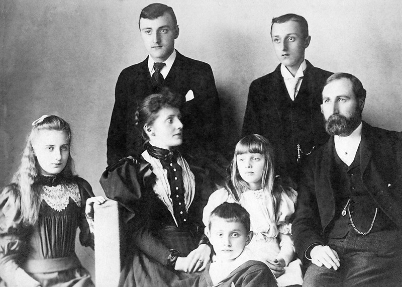 The Ashton Family circa 1896<br /> L to R: Mary, Lucy, Jim, Harold, Hannah, Frank, Edward<br /> Albumen Print mounted on Carte de visit stock<br /> Joseph Mathews successor to Clarence James, Louth, Lincolnshire
