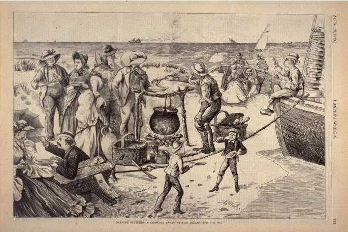 """<p>1873 satirical engraving of a Fire Island outing <i>(""""Sea-side Sketches - A Chowder Party at Fire Island"""", Harper's Weekly, 23 August 1873).</i></p> Full-size image available <a href=""""http://search.famsf.org:8080/view.shtml?keywords=%66%69%72%65%20%69%73%6C%61%6E%64&artist=&country=&period=&sort=&start=1&position=2&record=16322"""">here</a>."""