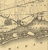 A detail view from an 1873 map shows the steamboat line from Babylon to the Surf hotel. Two other hotels are indicated near present-day Saltaire, while the railroad extension to the Babylon dock was never built.<br /> <br /> Surf hotel guests could also arrive at the hotel by twice-daily steamships direct from Manhattan or by private yacht.
