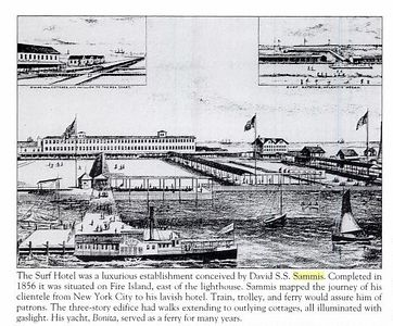 """This is a detail from an engraving of the Surf Hotel, probably from around 1880. It shows the main three-story building, outlying guest """"cottages"""", central piazza, ferry dock and covered walks to the ocean and bay.<br /> <br /> The hotel opened in June 1856 close to present-day Kismet and was originally intended as a sportsmen's retreat. It rapidly became popular as a family destination and after numerous extensions could receive well over 500 guests. It was not the first hotel on the island, but was clearly the most ambitious with resort facilities including a ballroom, bar, restaurant, billiards, bowling, hundreds of acres of land (including all of what is now Robert Moses State park), wooden bath houses on the beach, etc.<br /> <br /> NY state acquired the hotel and land in 1892 for use as a cholera quarantine station, but later leased the property to private operators for continued use as a resort. The hotel was demolished following the collapse of its roof in 1908."""