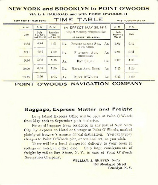 Train and ferry schedule to Point O'Woods, 1912.